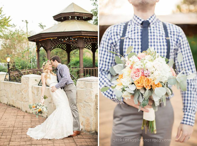 Maxit Flower Design, Jackie Ray Photography, Handtied bouquet of peach, white flowers