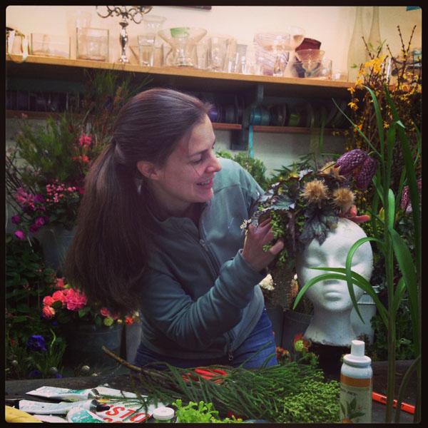 Francoise Weeks Botanical Couture Workshop, Janet of Floral Verde designs her flower head piece