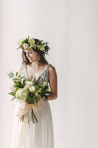 Maxit Flower Design, Joseph West Photography, Hand-tied Green Bridal Bouquet