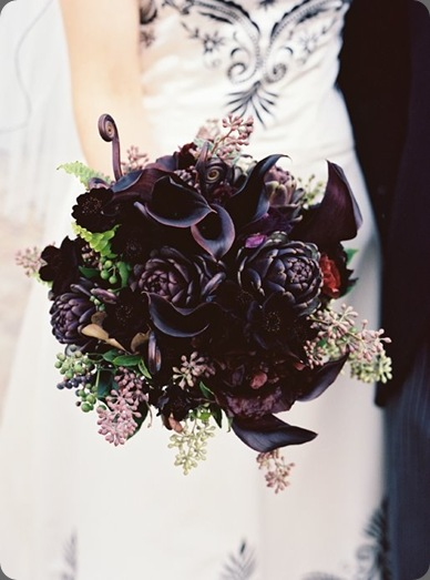 Karen Wise Photography, black bridal bouquet of calla lilies, artichokes, chocolate cosmos, fern fronds and seeded eucalyptus