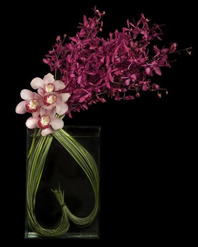 Ovando, heart shaped bear grass with cymbidium and J Story orchids