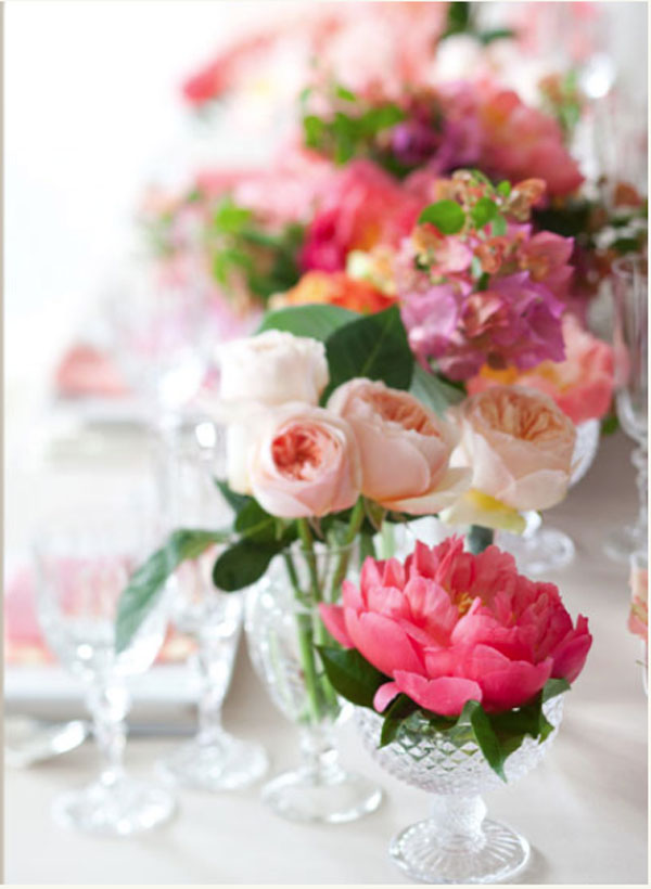 Stemz, Reception Table Centerpieces of Coral Charm Peonies, Juliet Garden roses, Bougonvellia