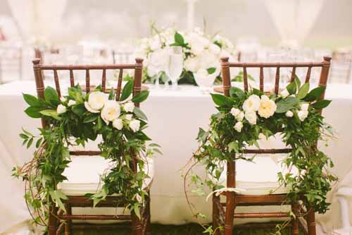 Yvonne Design, Green and White Chair decorations