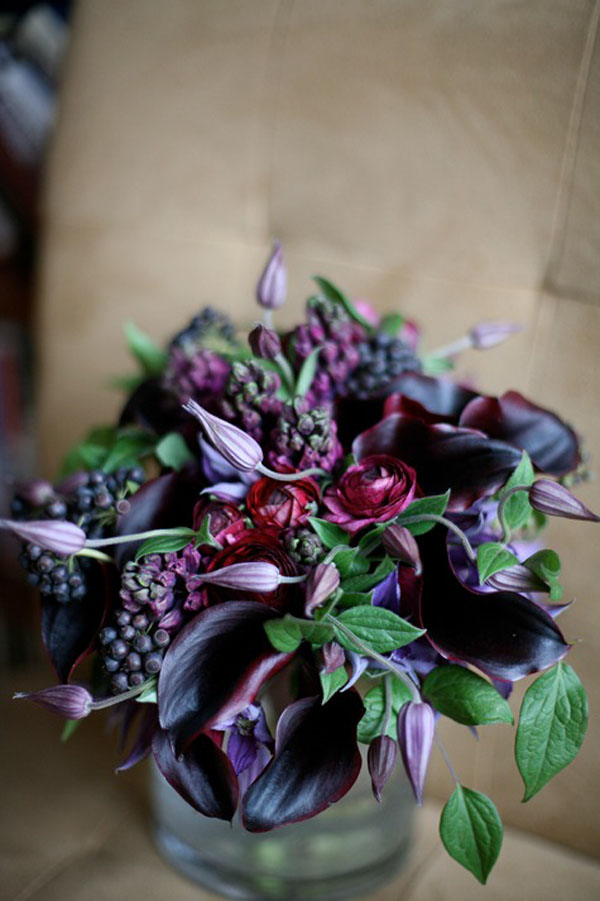 Blossom and Bloom, dark purple calla lilies, clematis, hyacinth