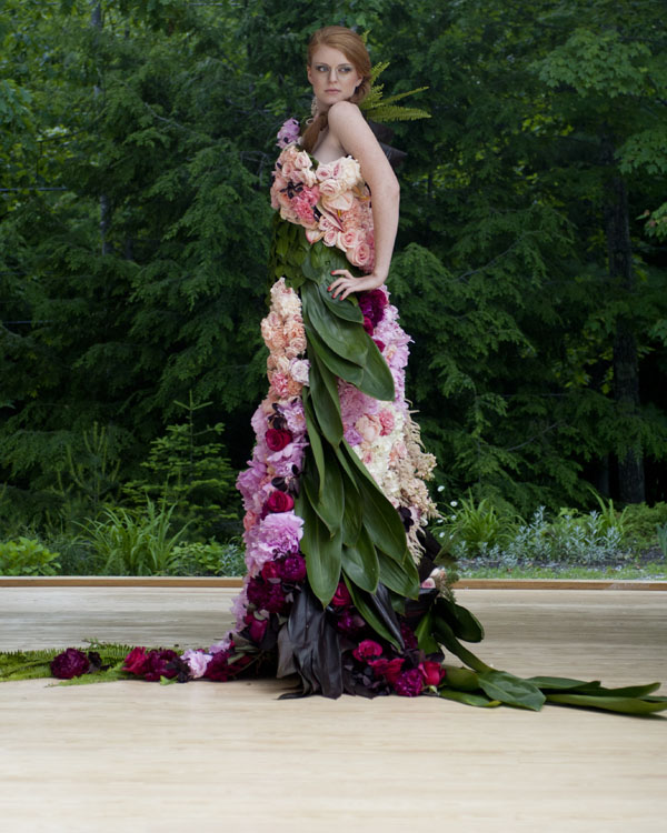 Emily Carter Floral Design - Dress of Flowers with green aspidistra leaves, pink peonies, red roses, pink garden roses