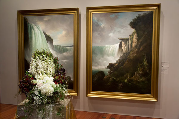 Bouquets To Art, San Francisco, Gustav Grunewald, The Niagra River at the Cataract and Horseshoe Falls from below the High Bank, c. 1832. Oil on canvas. Fine Arts Museums of San Francisco, gift of John D. Hatch,V, in memory of John Davis Hatch, A.I.A., architect of San Francisco. Floral design by J. Miller Flowers and Gifts. Photograph © Greg A. Lato / latoga photography