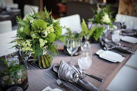 Brown & Greene Studio 306, All Green Bridal bouquet of trick dianthus, ferns, cockscomb, fern fronds, poppy pods