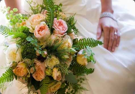 Floral Nova, Bridal bouquet with ferns and garden roses.