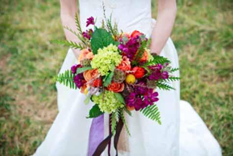 Urban Petals Jodi Byrnes Photograpy - bridal bouquet of green orange fuchsia flowers