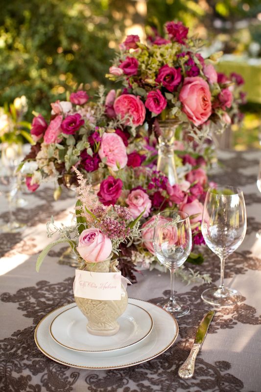 Flirty Fleurs, table setting with pink and crimson florals