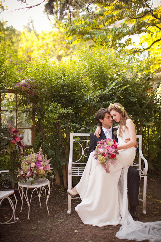 Flirty Fleurs, bride and groom with pink, green and crimson florals