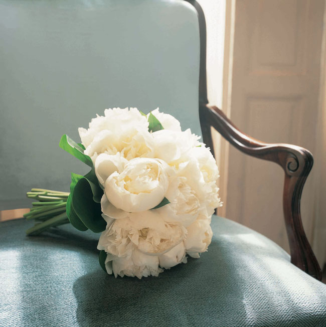 Paula Pryke - Bridal bouquet of all white peonies
