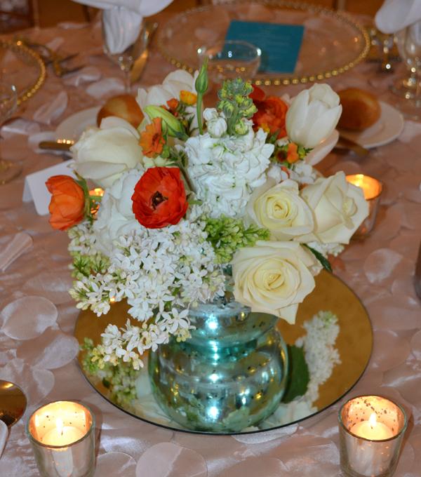 Fleurish, Bridal bouquet of white ranunculus, roses, hydrangeas, lilacs, lisianthus and freesia