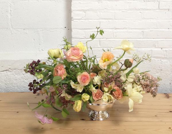 BLOOM, arrangement of parrot tulips, ranunculus, frittalaria, poppies, lilac