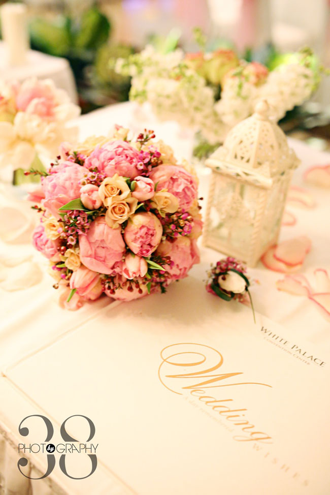 38 Degree Flowers Co, Bridal bouquet of pink peonies, blush roses, pink tulips and wax flower