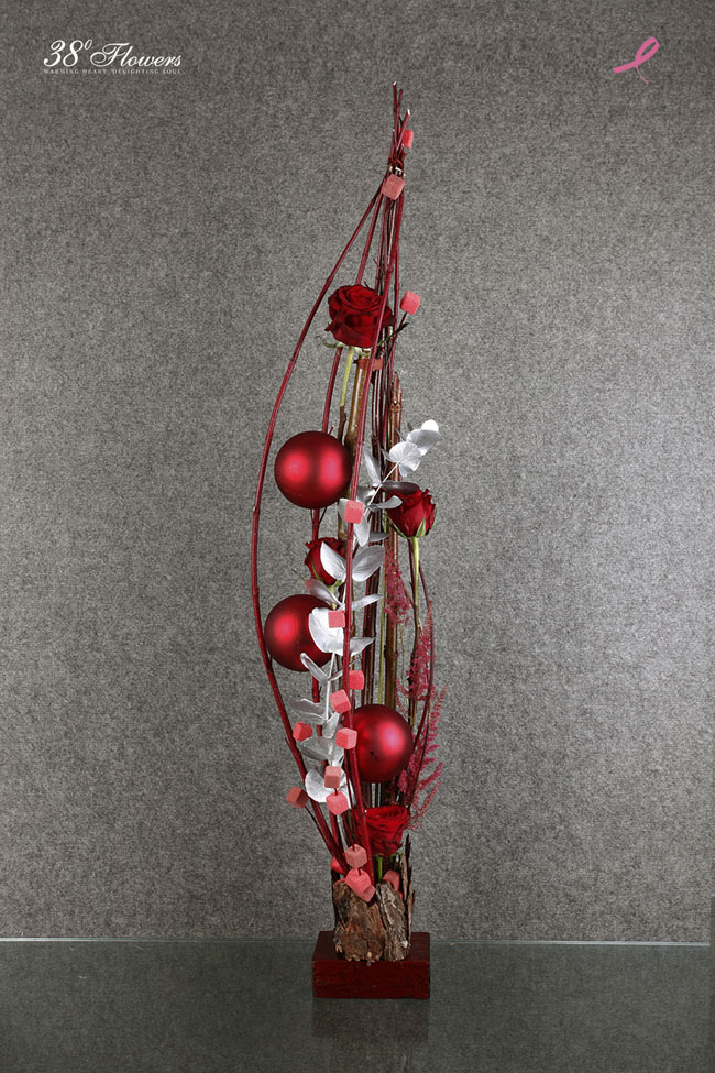 38 Degree Flowers Co., Red contemporary floral design with roses and twigs