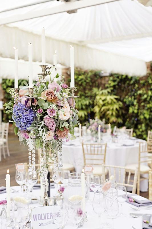 Jay Archer Floral Design, reception centerpiece, tall arrangement of hydrangeas, pink and lavender roses, eucalyptus