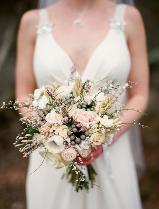 Jay Archer Floral Design, Bridal bouquet of white, pink and grey flowers