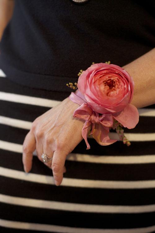 Bella Fiori - Pink Ribbon wristlet corsage
