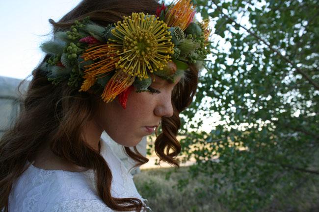 Fleurie - Floral halo of pincushion proteas, poppy pods, berzillia berries