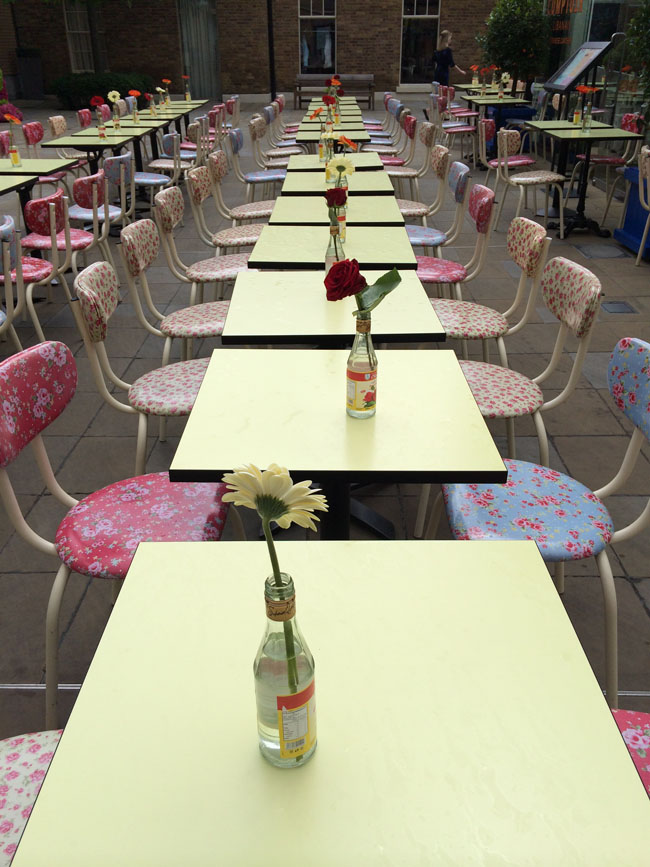 Chelsea In Bloom - tables with flowers