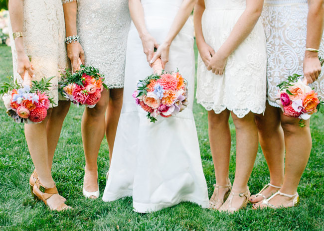 Cymbidium Flower Shop, New Hampshire - Bridesmaids bouquets with dahlias and ranunculus
