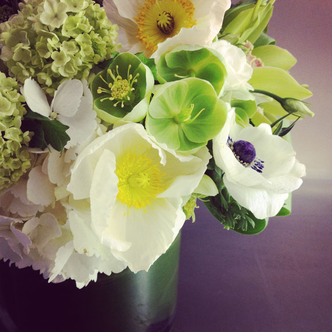Cymbidium Flower Shop, New Hampshire - flower centerpiece of hydrangea, anemones, hellebores