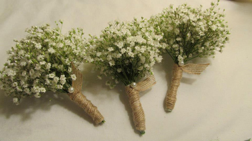 Garden Gate Florals - Baby's Breath Jute/burlap ribbon tiny white pearl pin $12.00