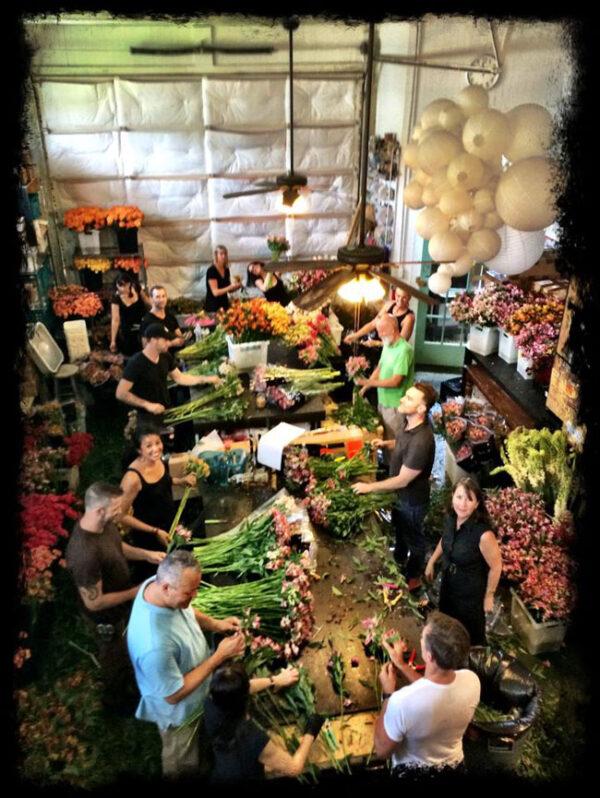 David Beahm Design, The team processing flowers