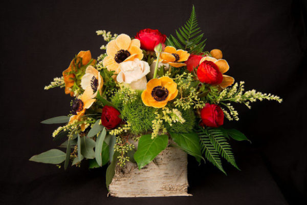 Kristina Bumphrey Photography, The Arrangement NYC, Orange Anemones, red ranunculus, vendelas, seeded