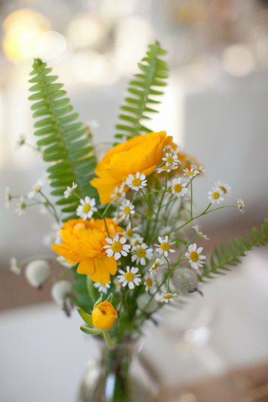 Lelia Marie Photography, The Arrangement NYC, bottle with yellow ranunculus and chamomile