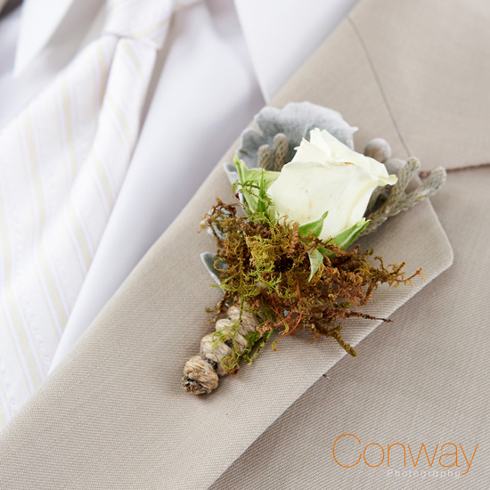 Park Place Design - White rose, moss and some twine, and brunia, and lambs ear - $21.00