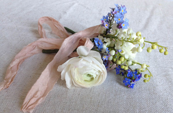 Wild Bunch Corsage - Double white ranunculus, lilly of the valley, forget me knot, brunnera (and beautiful silk ribbon from Silk and Willow) £9.50