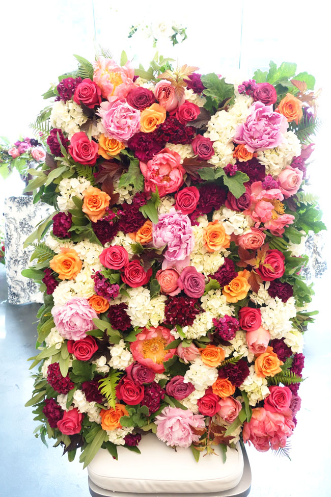 display wall of flowers