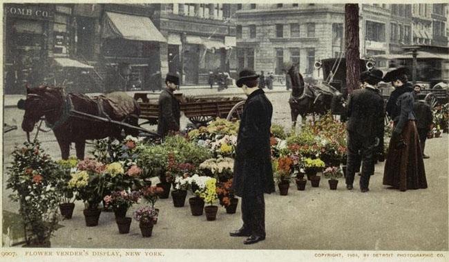 flower vendors postcard New York City