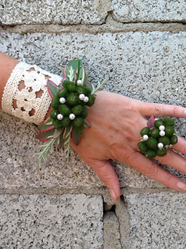Mt Lebanon Flower Shop - Corsage and flower ring created with brunia