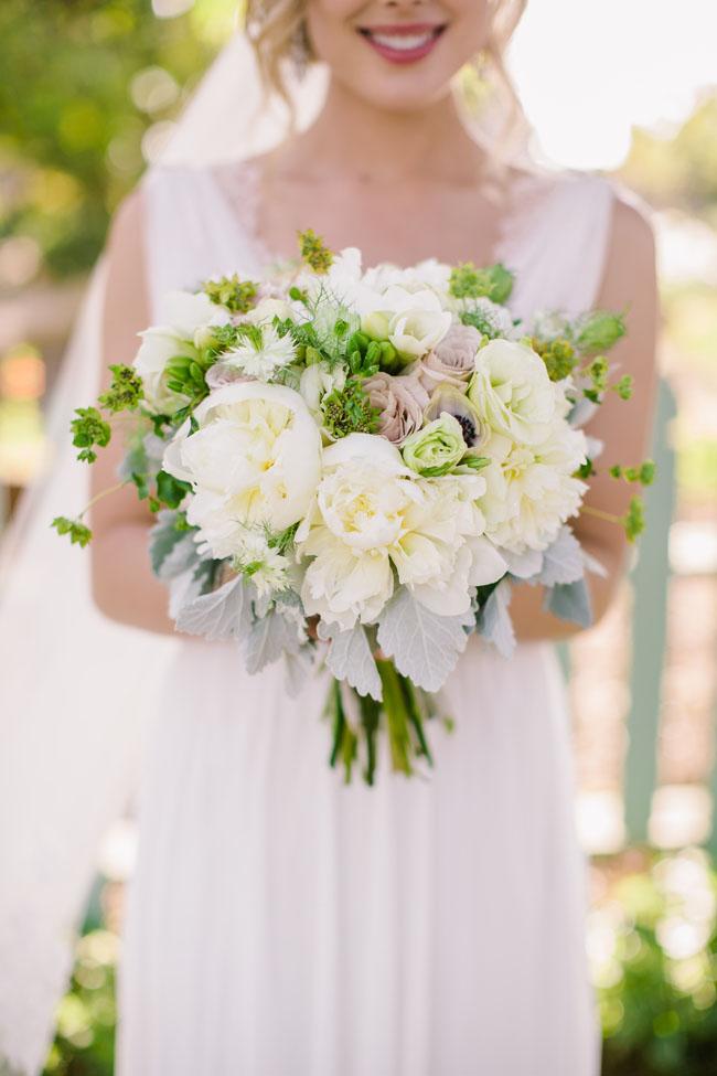 The English Garden LA - green and white bridal bouquet
