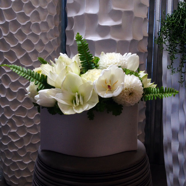 The English Garden LA - silver container with white flower arrangement