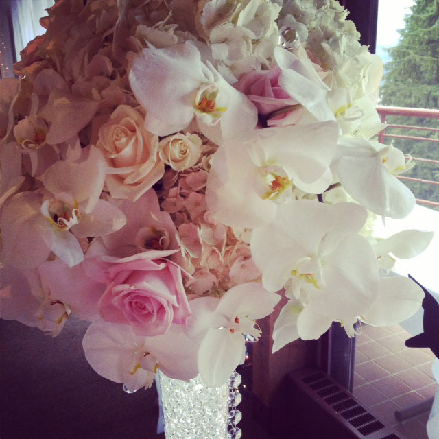 Budget Blooms, Vancouver - bouquet with roses and orchids