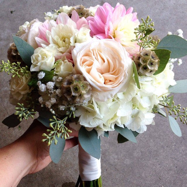 Budget Blooms, Vancouver - pink and cream bouquet with scabies pods and berzillia berries