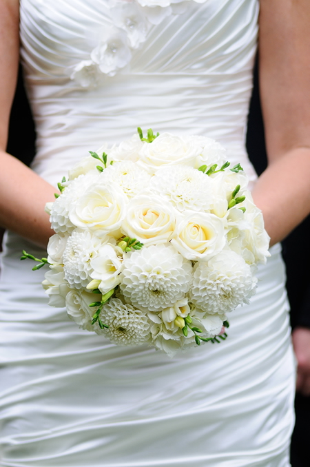 Budget Blooms, Vancouver - white dahlia and rose bouquet