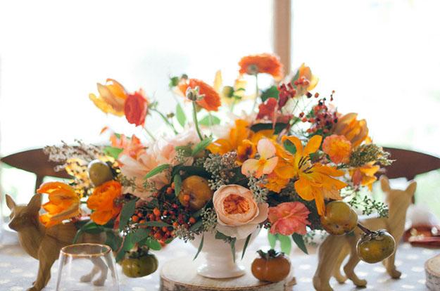 orange wedding flowers, studio fleurette, fall wedding