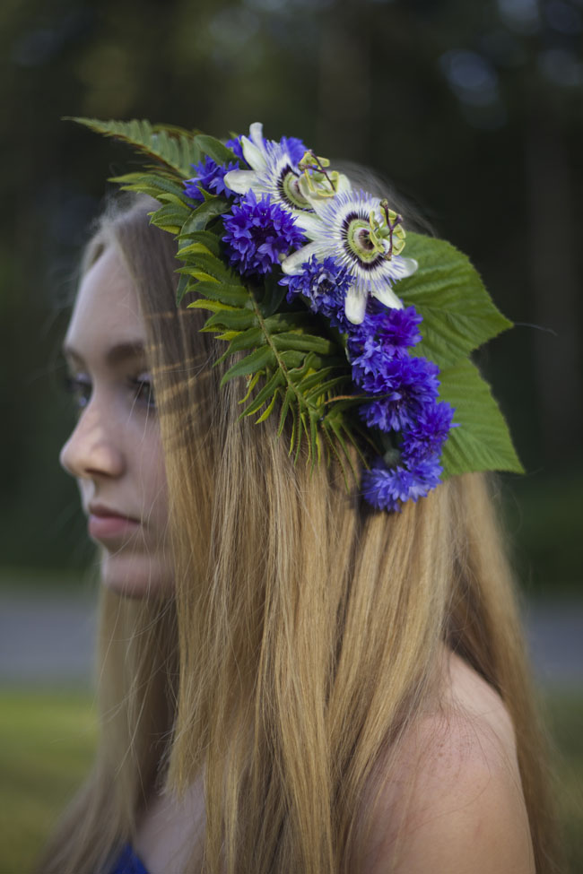 flower crown with passion flowers and bachelor buttons