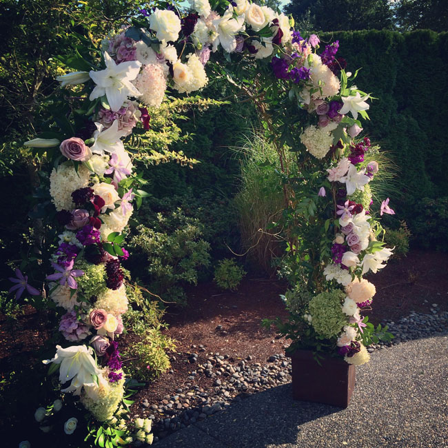 wedding flower arch at Columbia Winery in Woodinville, wa