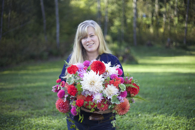 Alicia Schwede with flowers