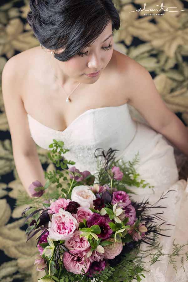 Bash and Bloom - pink, burgundy bridal bouquet