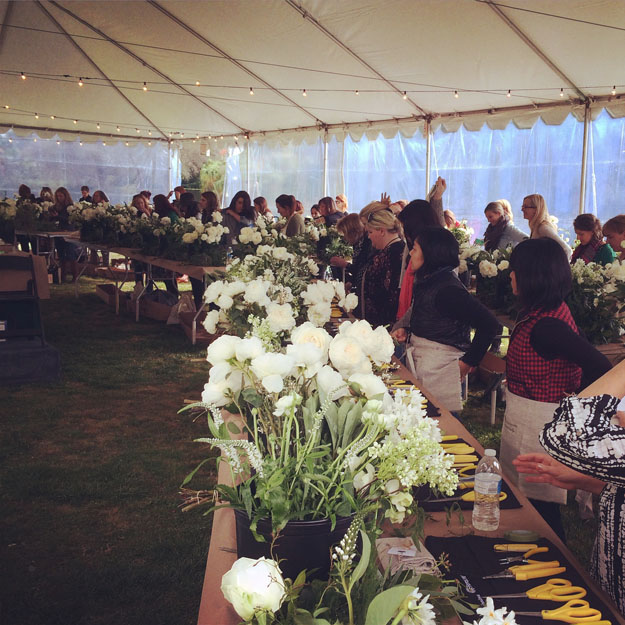 Florabundance Design Days kicks off with a demonstration in the tent.