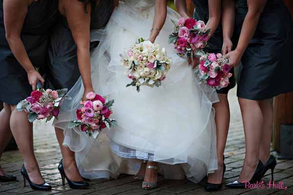 Bash and Bloom - pink and grey bridesmaid boquets, cream and grey bridal bouquet