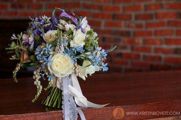 Studio 3 Floral, Tweedia, Roses, veronica and clematis bouquet