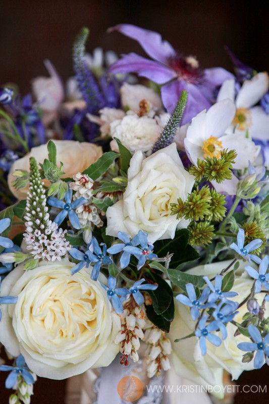 Design by Studio 3 Floral, white roses, tweedier, veronica and clematis